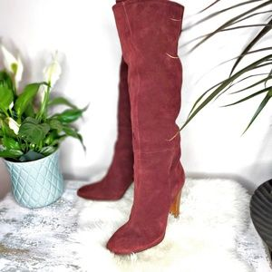 Joie Bordeaux slouchy suede stacked heel knee high